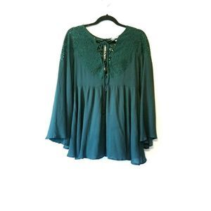 Umgee Blouse Lace Shoulder Bell Sleeves